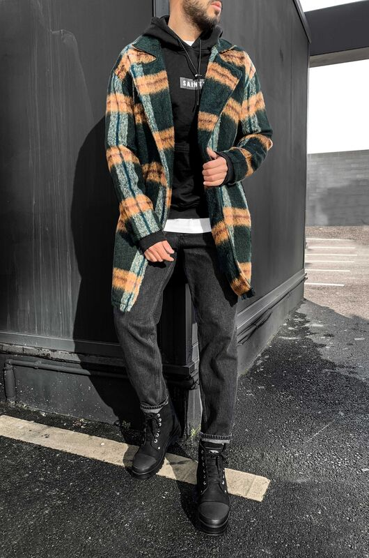 Black Island - FLANNEL LONG JACKET GREEN 5881 (1)