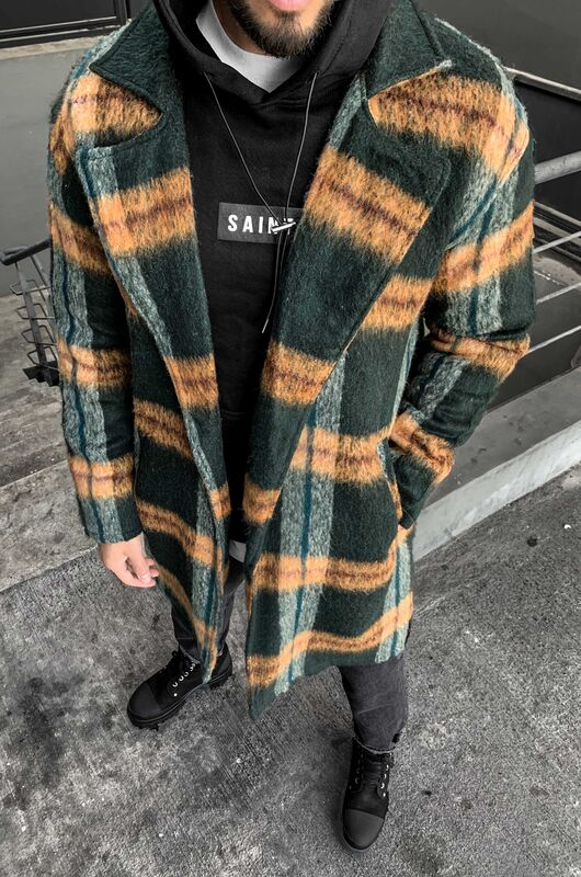 FLANNEL LONG JACKET GREEN 5881 (1)