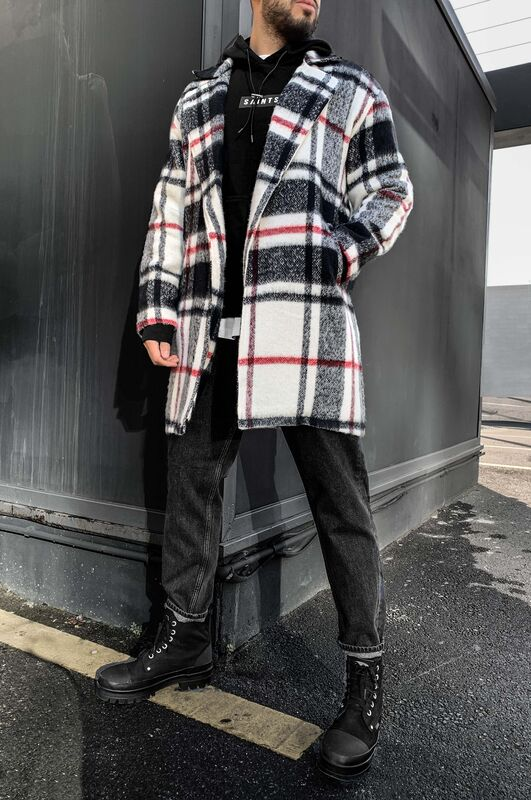 Black Island - FLANNEL LONG JACKET BLACK 5880 (1)