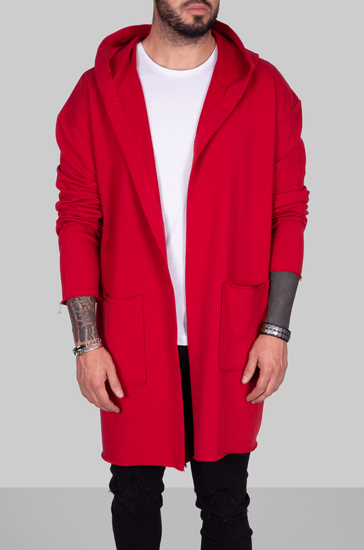 HOODED CARDIGAN RED 1059 (1)