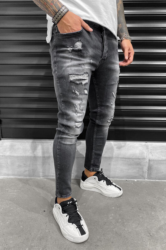 SKINNY RIPPED JEANS GREY 6453 (1)