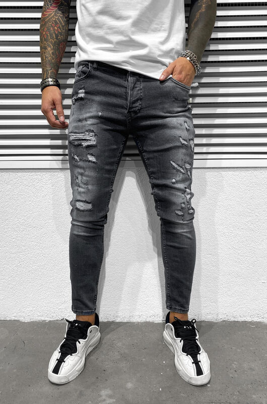 SKINNY RIPPED JEANS GREY 6453 (3)